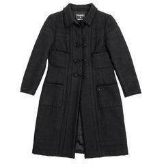 CHANEL Coat in Black Wool Size 38FR
