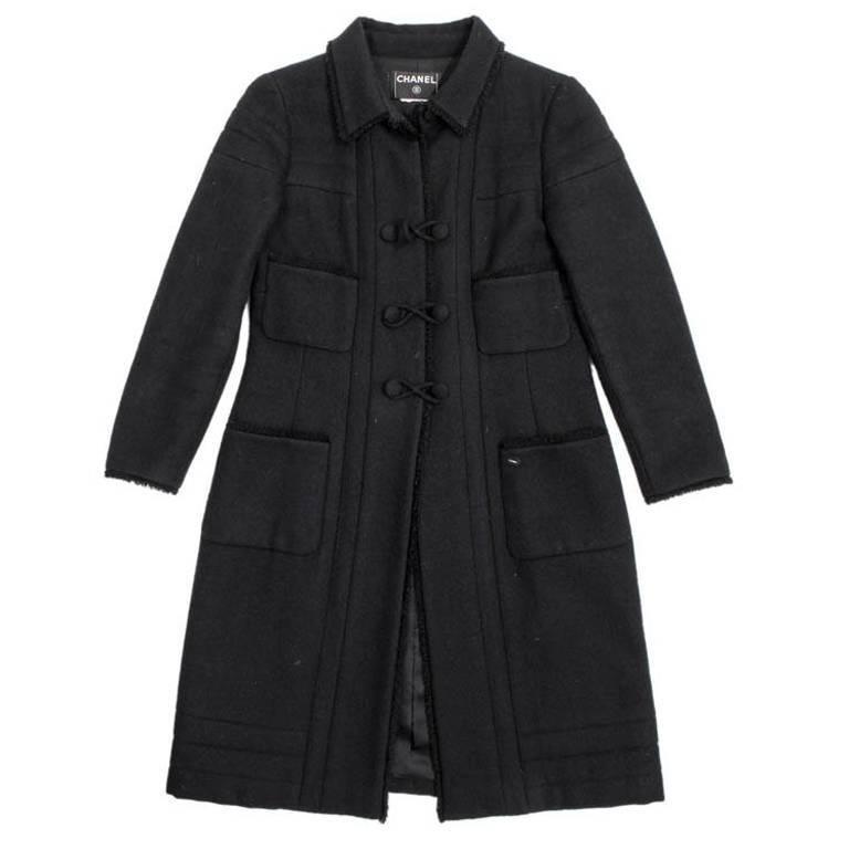 CHANEL Coat in Black Wool Size 38FR