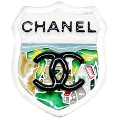 CHANEL Coat of Arms Pin in Silver Plate Metal