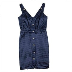 CHANEL Cocktail Dress in Navy Blue Duchess Satin with Straps Size 38FR