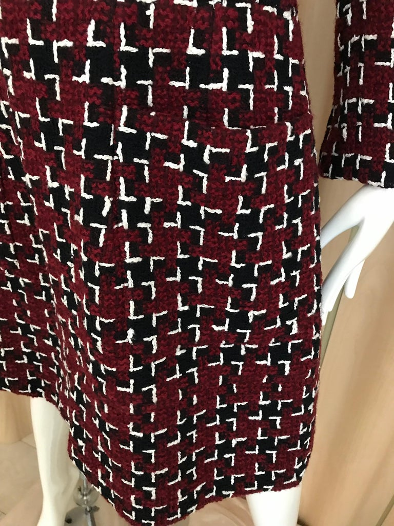 Chanel Cocktail Tweed Dress in Burgundy, Black and White New with tag For Sale 8