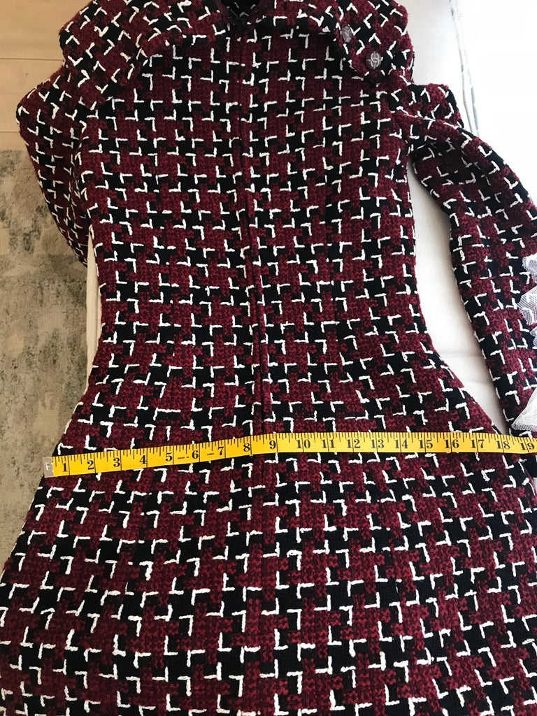 Chanel Cocktail Tweed Dress in Burgundy, Black and White New with tag For Sale 13
