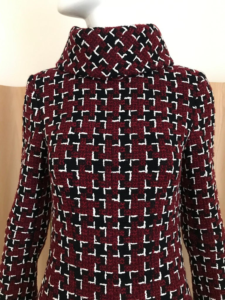 Chanel Cocktail Tweed Dress in Burgundy, Black and White New with tag For Sale 5