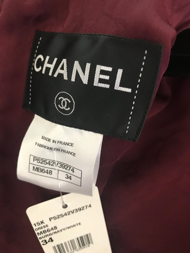 Chanel Cocktail Tweed Dress in Burgundy, Black and White New with tag For Sale 1