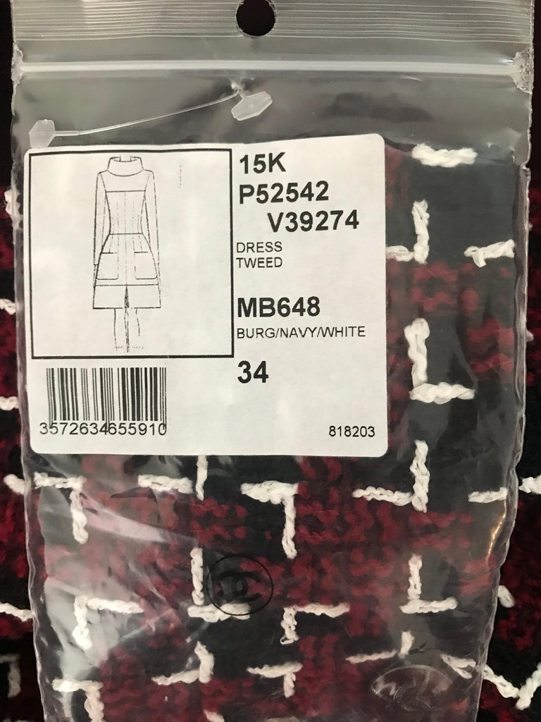 Women's Chanel Cocktail Tweed Dress in Burgundy, Black and White New with tag For Sale