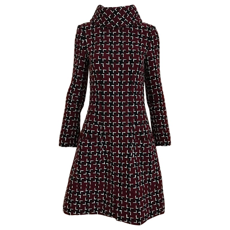 Chanel Cocktail Tweed Dress in Burgundy, Black and White New with tag For Sale