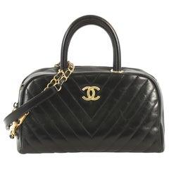 Chanel Coco Bowling Bag Chevron Glazed Calfskin Small
