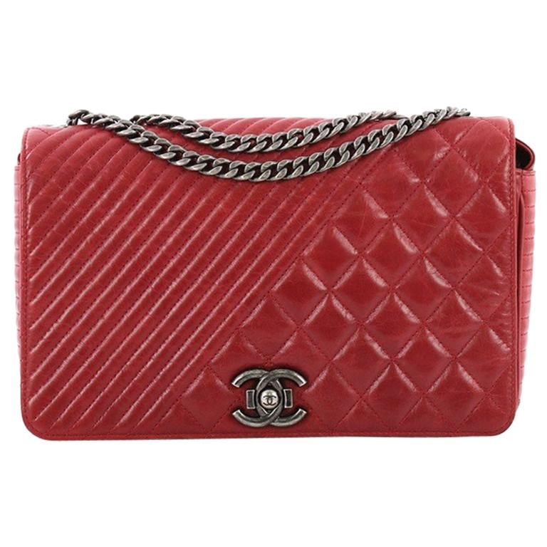 833ade40a9dc82 Chanel Coco Boy Flap Bag Quilted Aged Calfskin Medium at 1stdibs