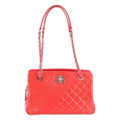 Chanel Coco Boy Tote Quilted Patent Medium