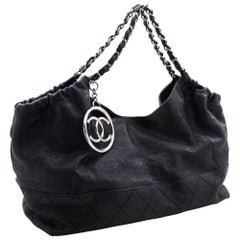CHANEL Coco Cabas Calfskin Chain Shoulder Bag Black Quilted Leather