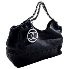 CHANEL Coco Cabas Calfskin Chain Shoulder Bag Black Quilted Tote