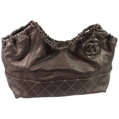 """Chanel """"Coco Cabas"""" GM Shoulder Bag in Brown Leather"""