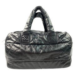 Chanel Coco Cocoon Bowling Black and Red Leather Quilted Tote Handbag
