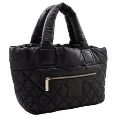 CHANEL Coco Cocoon PM Nylon Tote Bag Handbag Leather Black