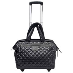 Chanel Coco Cocoon Quilted Case Trolley Black Luggage