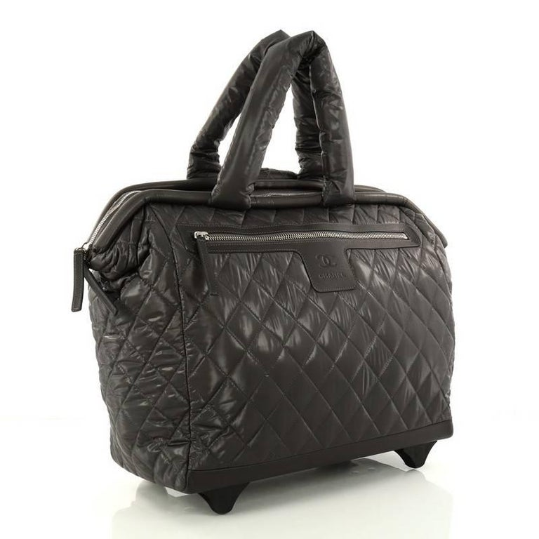 4871cd798345 Black Chanel Coco Cocoon Rolling Trolley Quilted Nylon For Sale