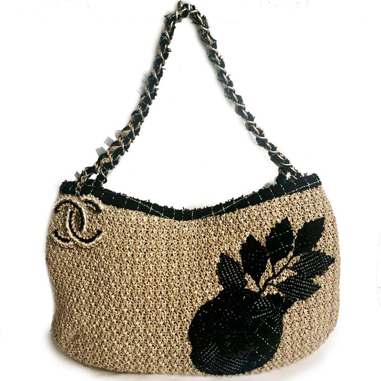 Brown Chanel Coco Country Camellia Bag Woven Straw Tote 2010 Collection  For Sale