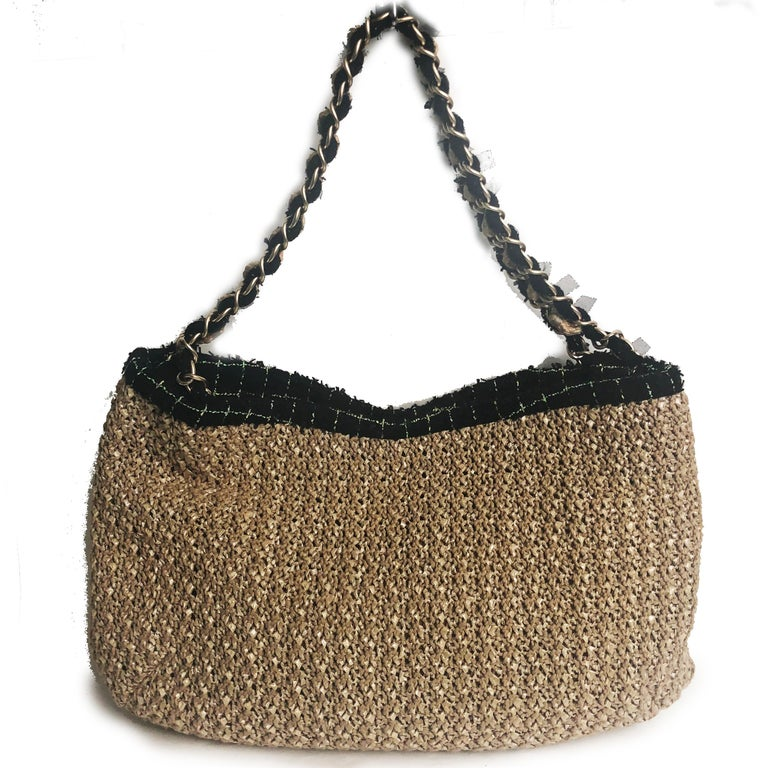 Women's or Men's Chanel Coco Country Camellia Bag Woven Straw Tote 2010 Collection  For Sale