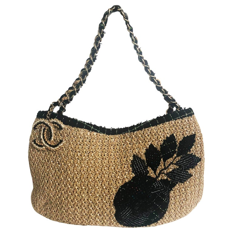 Chanel Coco Country Camellia Bag Woven Straw Tote 2010 Collection  For Sale