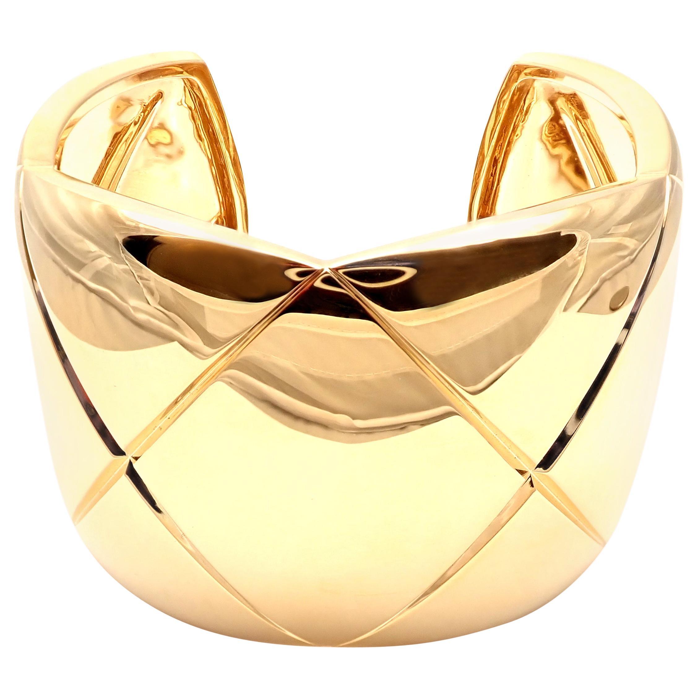 Chanel Coco Crush Yellow Gold Cuff Bangle Bracelet