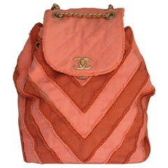 Chanel Coco Cuba Patchwork Canvas Chevron Backpack