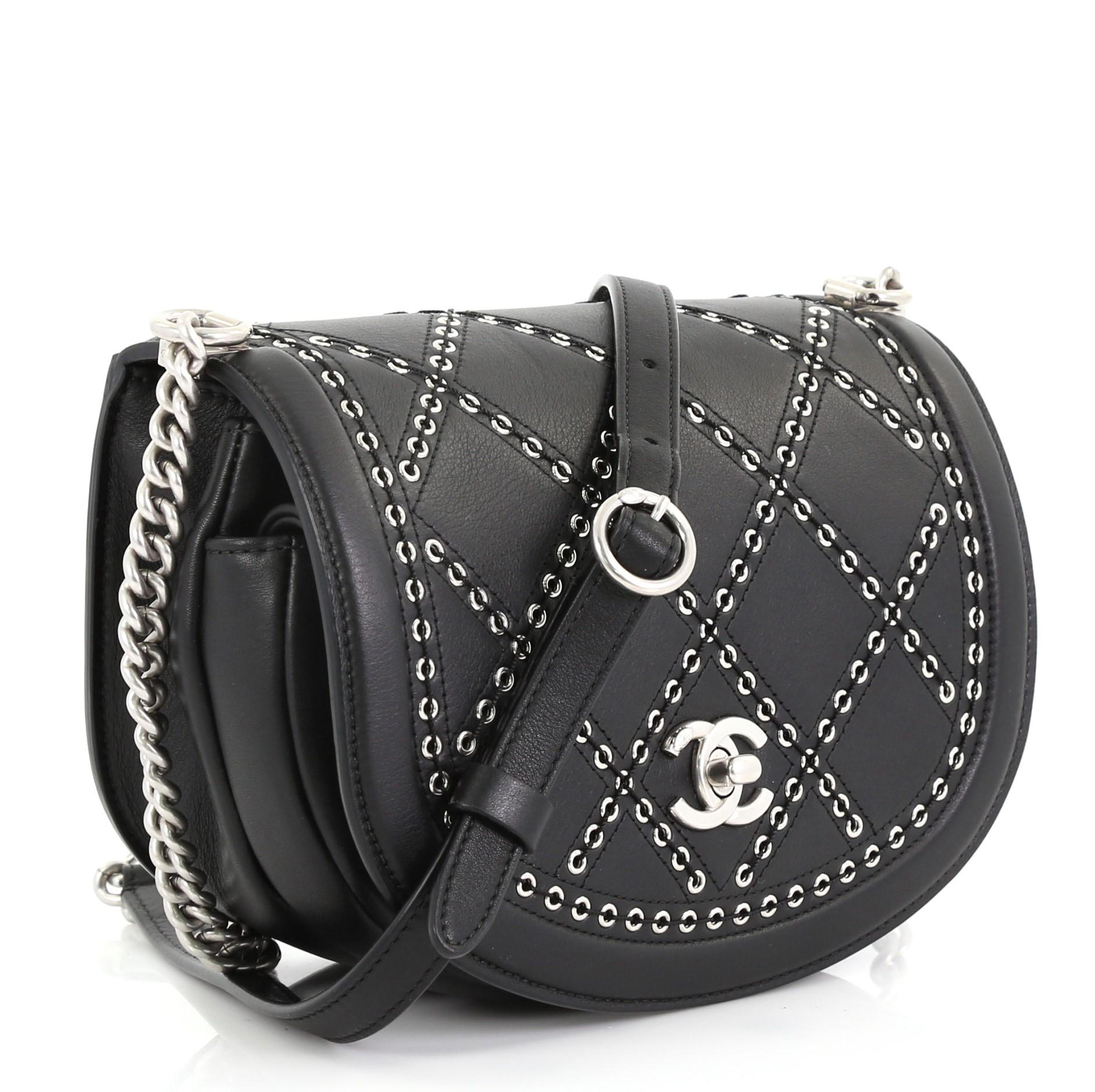 275b5e20d306 Chanel Coco Eyelets Round Flap Bag Quilted Calfskin Small For Sale at  1stdibs