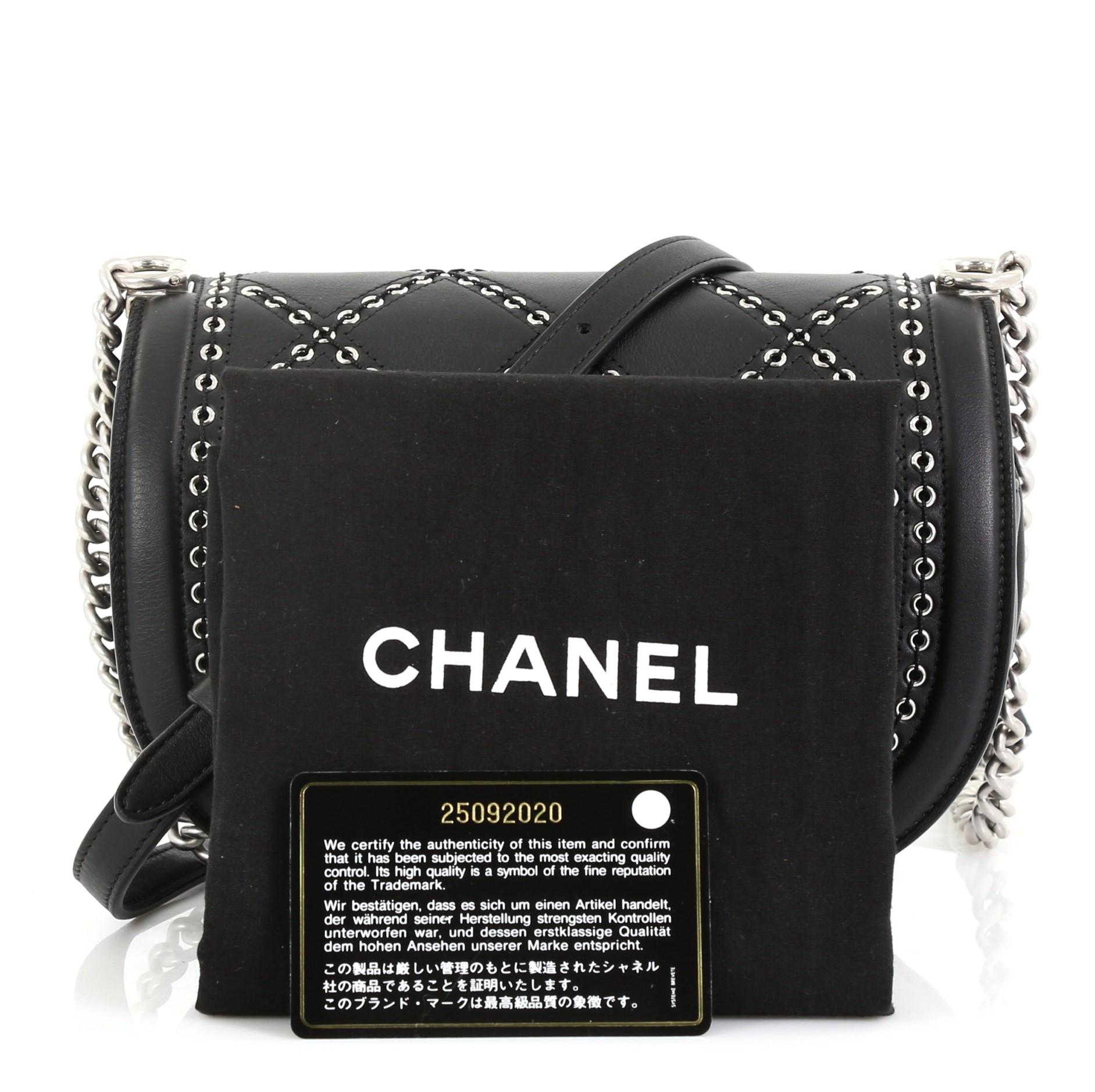dcc186420a62 Chanel Coco Eyelets Round Flap Bag Quilted Calfskin Small For Sale at  1stdibs