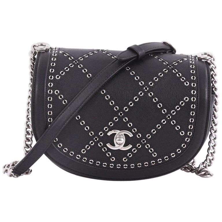 d9ca013ae8d7 Chanel Coco Eyelets Round Flap Bag Quilted Calfskin Small at 1stdibs