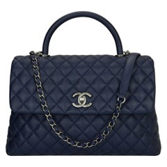 Chanel Coco Handle Bag Large Navy Caviar with Ruthenium Hardware 2017