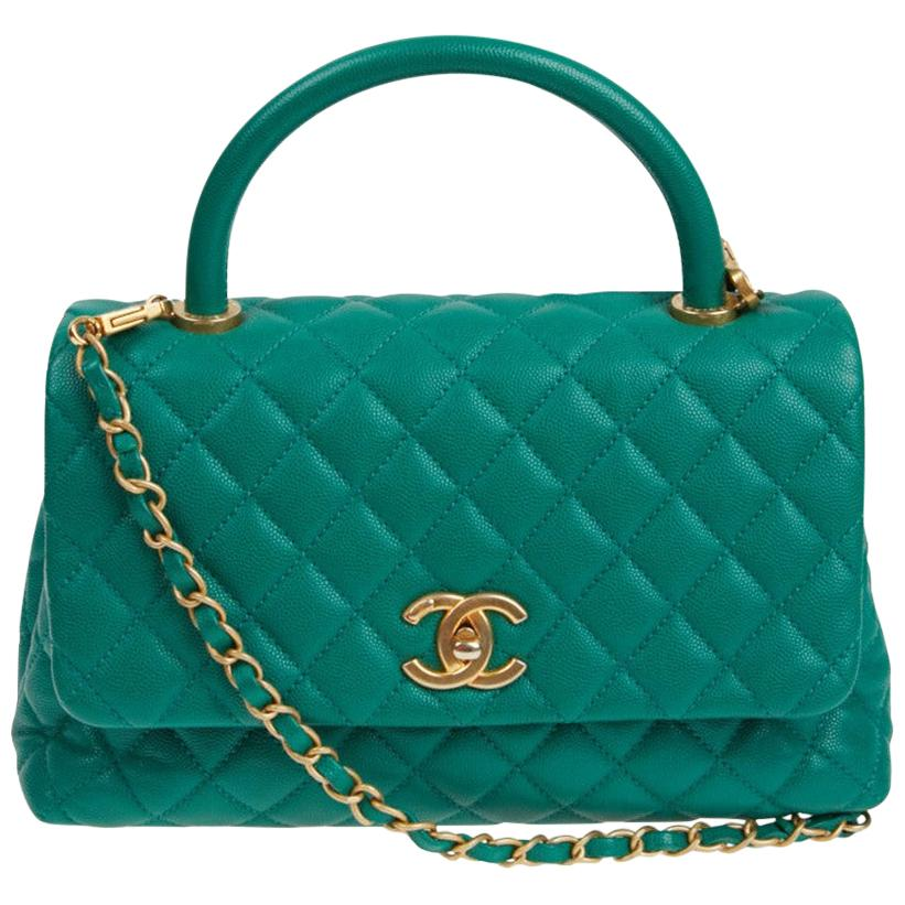 CHANEL Coco Handle Hand Bag in Green Emerald Caviar Leather
