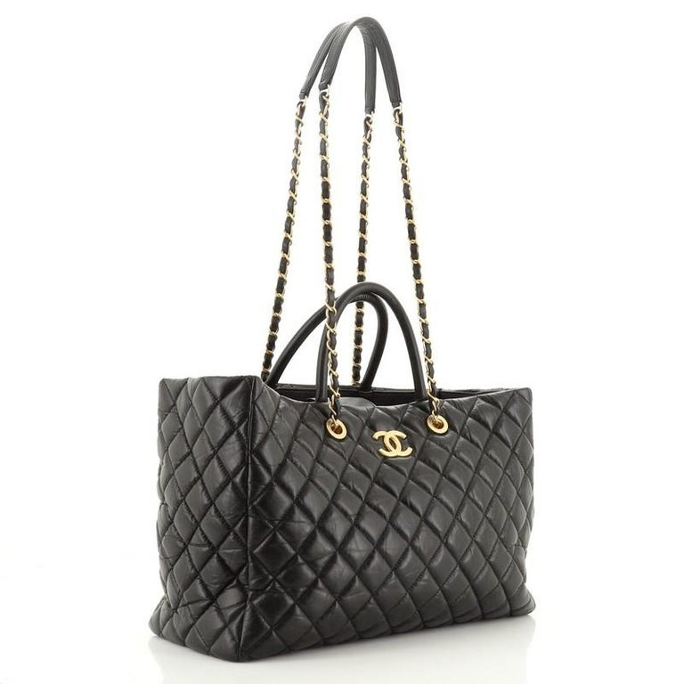 Chanel Coco Handle Shopping Tote Quilted Aged Calfskin Large In Good Condition For Sale In New York, NY