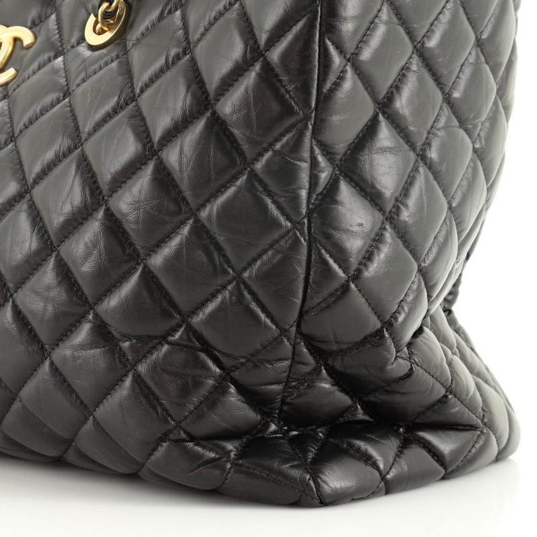 Chanel Coco Handle Shopping Tote Quilted Aged Calfskin Large For Sale 3