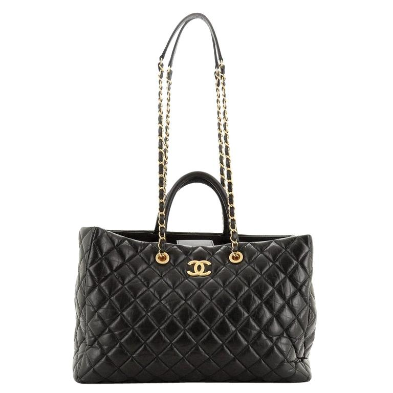 Chanel Coco Handle Shopping Tote Quilted Aged Calfskin Large For Sale
