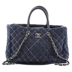 Chanel Coco Handle Shopping Tote Quilted Denim Large