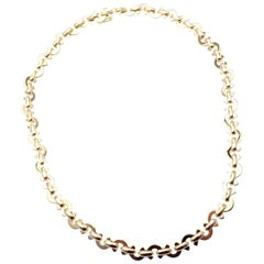 Chanel Coco Logo Link Yellow Gold Chain Necklace