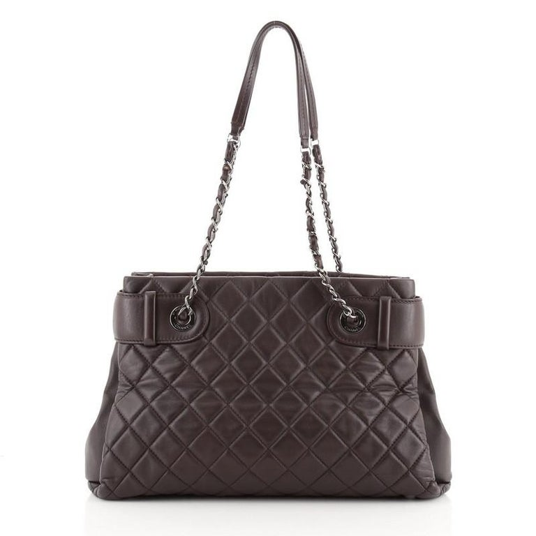 Black Chanel Coco Loop Tote Quilted Lambskin Small For Sale
