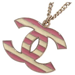 CHANEL coco mark border GP necklace pink x ivory