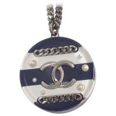 CHANEL coco mark border plastic metal necklace