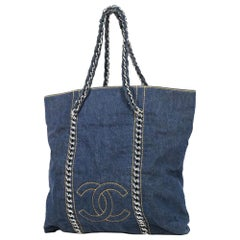 CHANEL coco mark chain tote Womens tote bag blue x silver hardware