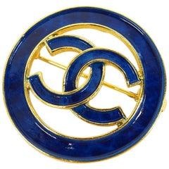 CHANEL coco mark  circle GP  brooch  blue