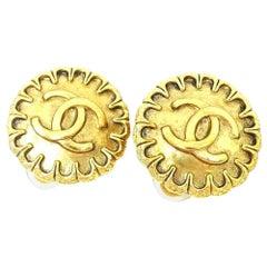 CHANEL coco mark circle GP Womens earrings gold
