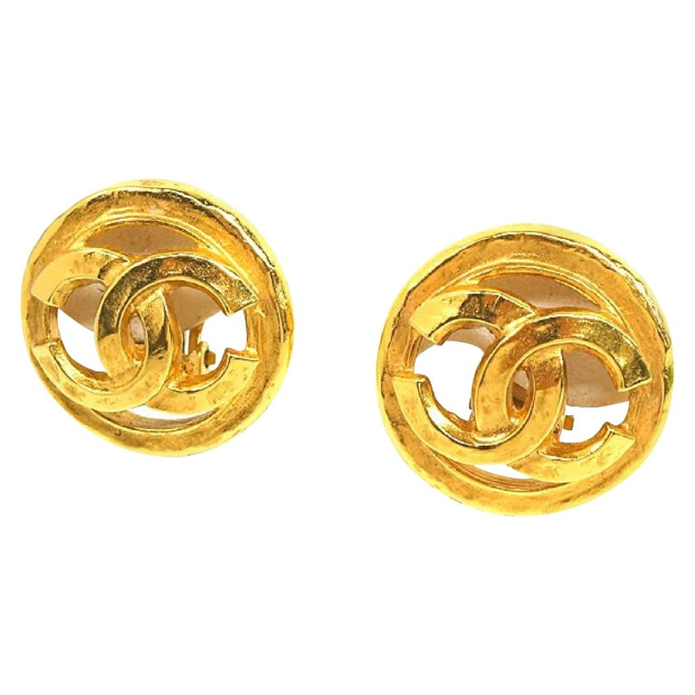 CHANEL coco mark circle GP Womens earrings gold For Sale