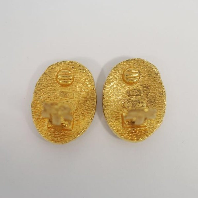 CHANEL coco mark circle oval GP Womens earrings gold For Sale 1