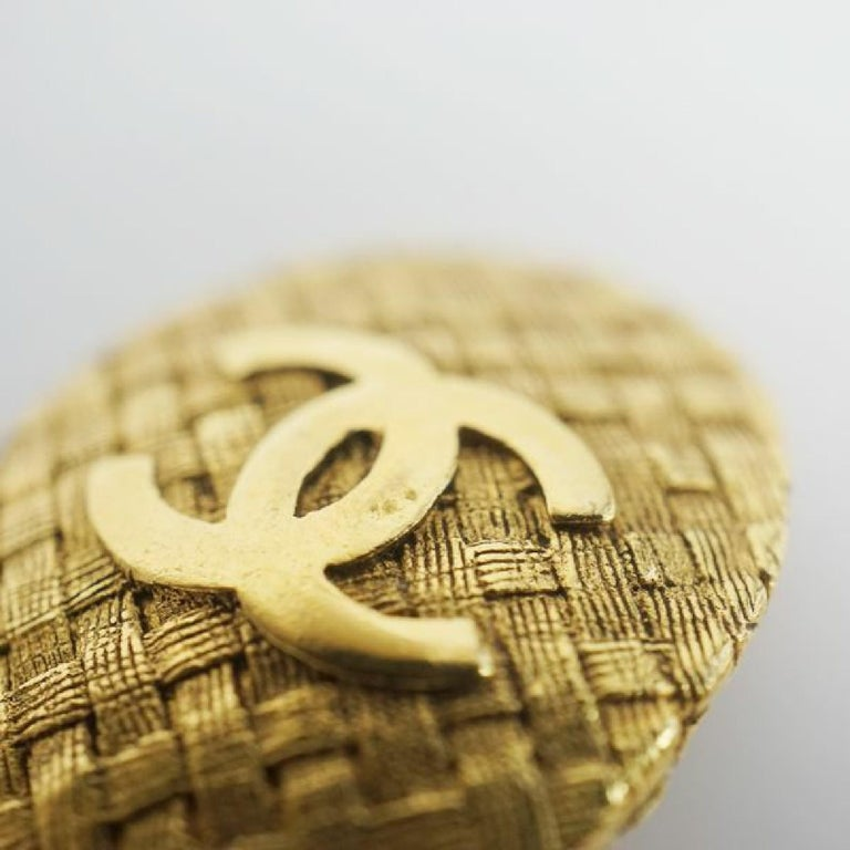 CHANEL coco mark circle oval GP Womens earrings gold For Sale 4