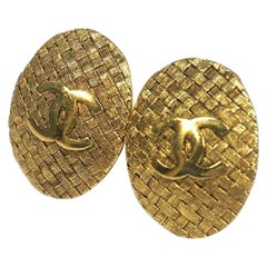 CHANEL coco mark circle oval GP Womens earrings gold