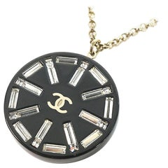 CHANEL coco mark clear stone long pendant metal necklace