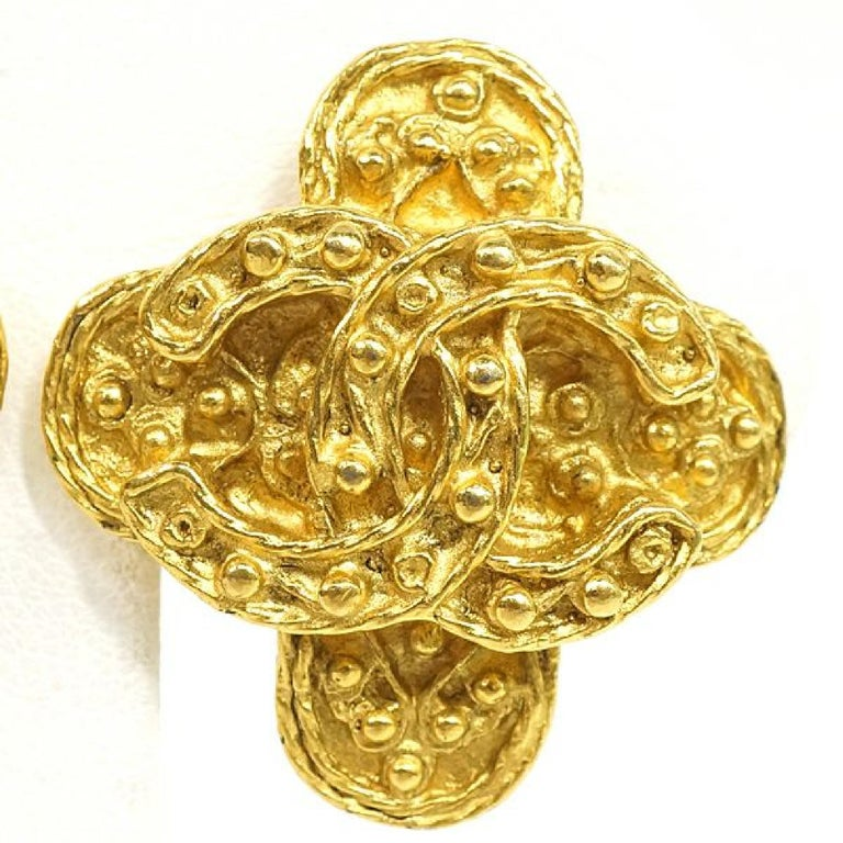 CHANEL coco mark Clover GP Womens earrings gold In Good Condition For Sale In Takamatsu-shi, JP