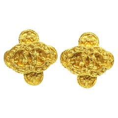 CHANEL coco mark Clover GP Womens earrings gold