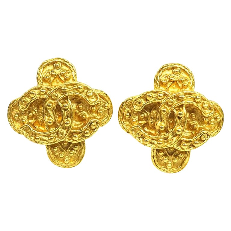 CHANEL coco mark Clover GP Womens earrings gold For Sale