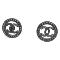 CHANEL coco mark Costume metal Pearl circle metal Womens Earrings black
